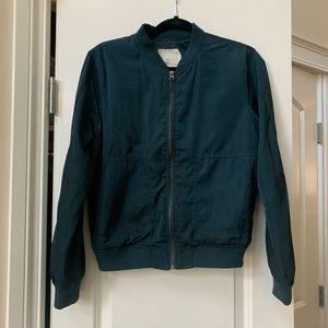 Anthropologie emerald bomber jacket size small